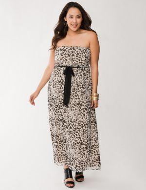 Tie waist chiffon maxi dress