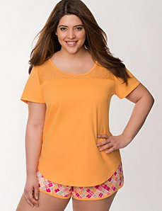 Lace inset sleep tee by LANE BRYANT
