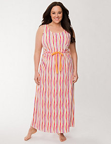 Crossed stripe sleep maxi