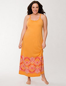 Paisley lace-back sleep maxi by LANE BRYANT