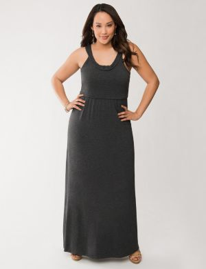 Braided neck maxi dress