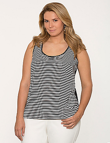 Striped woven front tank