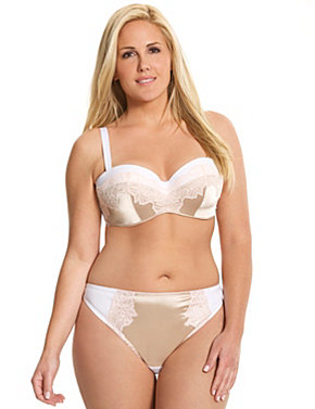 Satin & lace bandeau bra ensemble