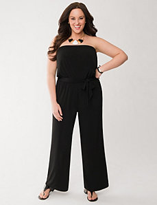 Strapless knit jumpsuit by LANE BRYANT