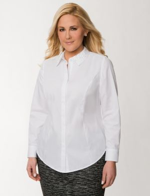 Classic shirt with embellished collar