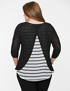 Split back top with striped chiffon by LANE BRYANT