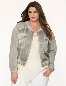 Mixed media bomber jacket by DKNY JEANS