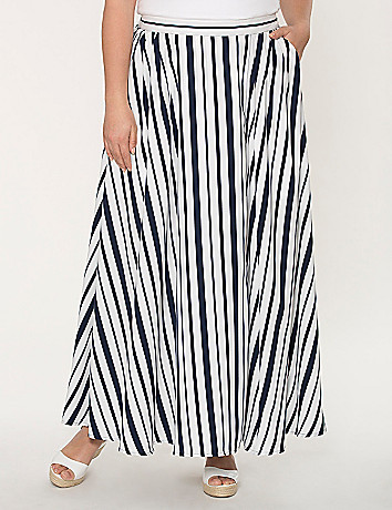 Striped charmeuse maxi skirt