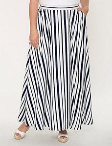 Striped charmeuse maxi skirt
