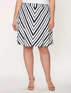 Striped charmeuse flippy skirt