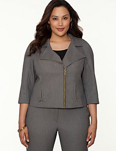 Bird-eye moto jacket by LANE BRYANT