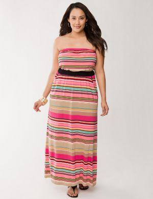 Striped maxi tube dress