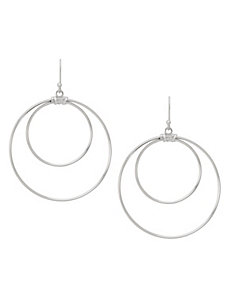 Sterling silver double hoop earrings by Lane Bryant by LANE BRYANT