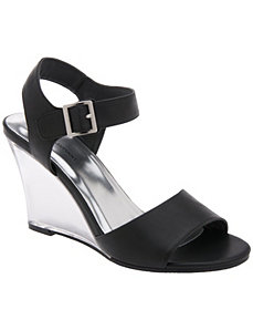Lucite wedge sandal  by LANE BRYANT