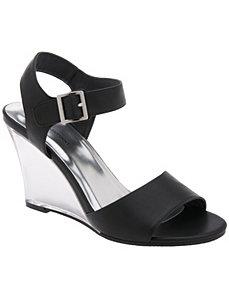 Lucite wedge sandal