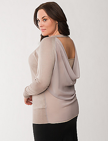 Plus Size Draped Chiffon Back Sweater