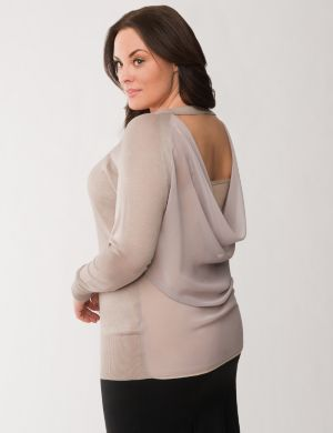 Lane Collection chiffon back sweater