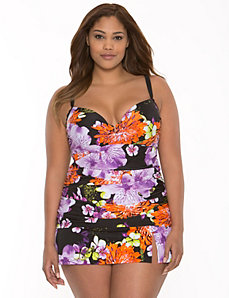Floral V-wire swim tank with built-in balconette bra