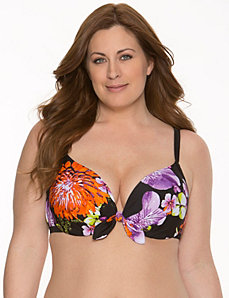 Bust Enhancer Floral twisted bikini top