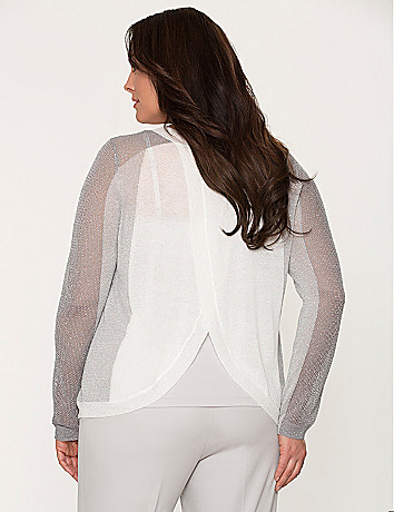 Metallic tulip back sweater