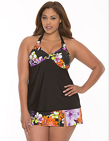 Floral swim tank with built-in no wire bra