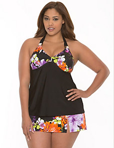 Floral swim tank with built-in no wire bra by LANE BRYANT