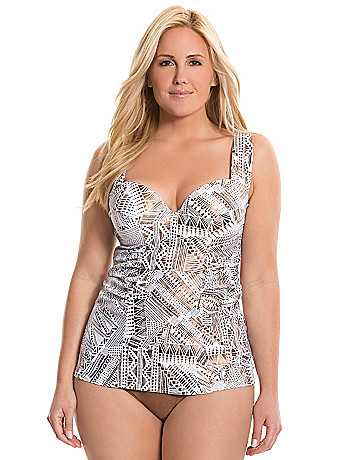 Tribal print swim tank with balconette bra
