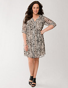 Printed chiffon shirt dress by LANE BRYANT