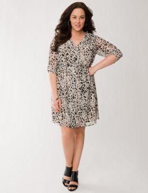 Printed chiffon shirt dress