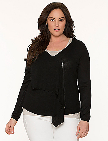 Lane Collection zip cardigan