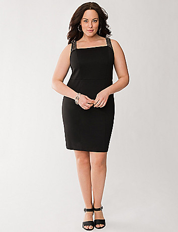 Embellished strap sheath dress