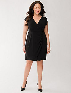 Ruched surplice dress by LANE BRYANT