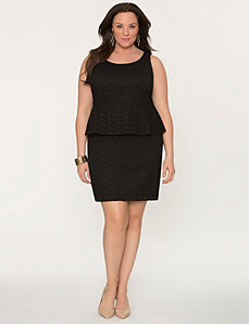 Eyelet lace peplum dress