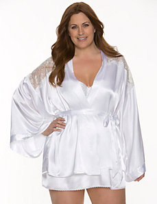 Charmeuse & lace bridal robe by LANE BRYANT