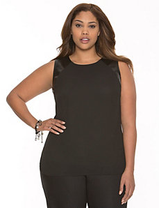 Faux leather trim tank by LANE BRYANT