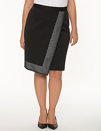 Grid trim pencil skirt