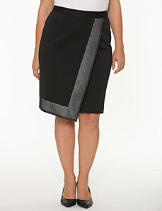 Grid trim pencil skirt by LANE BRYANT