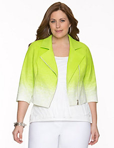 Pique moto jacket by LANE BRYANT