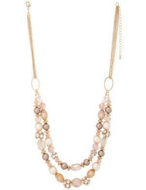 Faux pearl & fireball necklace by Lane Bryant