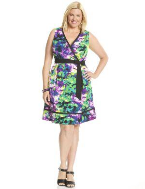 Printed surplice dress