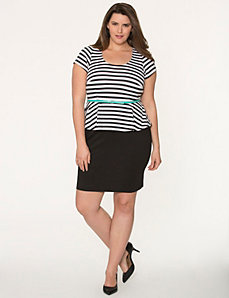 Striped belted peplum dress