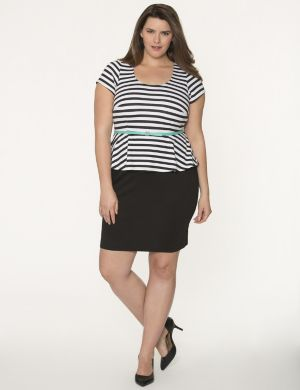 Striped belted peplum dress