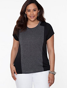 Colorblock delicate ribbed tee
