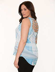 Lane Collection printed cord back tank