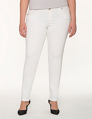 Lane Collection distressed white jean