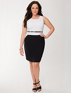 Colorblock sheath dress with belt by LANE BRYANT