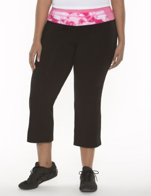 Yoga capri with printed waist