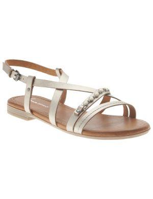 Metallic beaded sandal