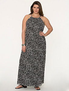 Printed split-back maxi dress