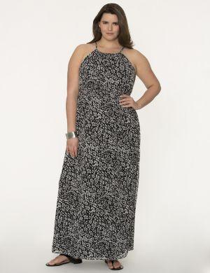 Printed split-back maxi dress